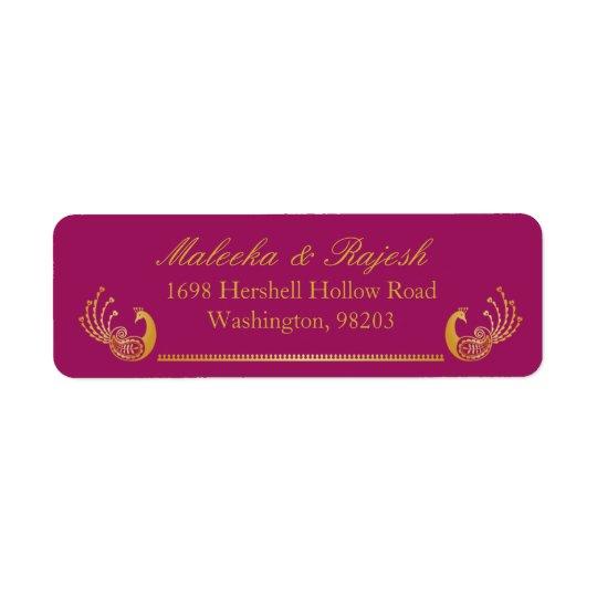 Indian Gold Pattern Modern Return Address Label