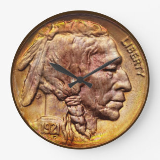 Indian Head Nickel Coin Collector Modern Acryllic Large Clock