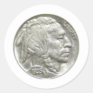 INDIAN HEAD NICKEL ROUND STICKER