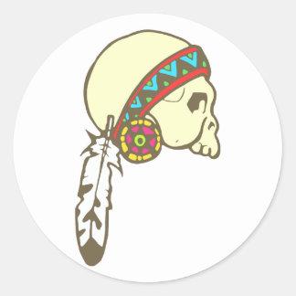 Indian head skull native American skull Round Sticker