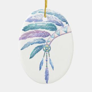 Indian Headdress in Watercolour Ceramic Ornament