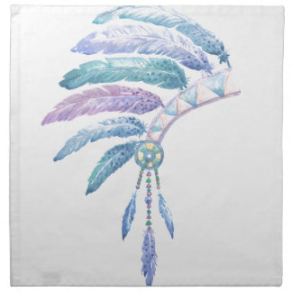 Indian Headdress in Watercolour Napkin