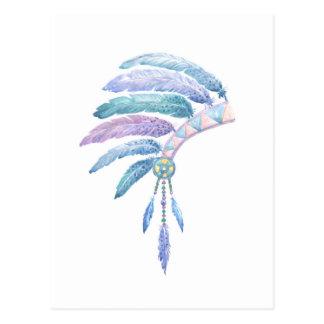 Indian Headdress in Watercolour Postcard