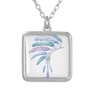 Indian Headdress in Watercolour Silver Plated Necklace