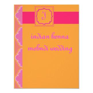 "indian henna mehndi wedding 4.25"" x 5.5"" invitation card"
