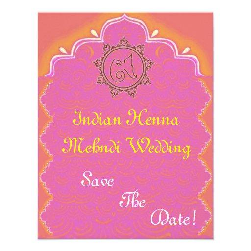 indian henna mehndi wedding personalized invitation