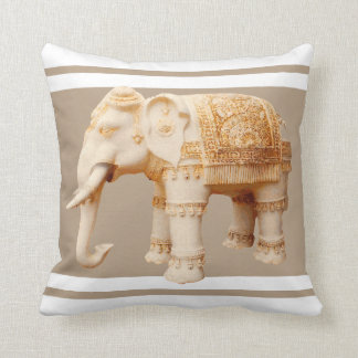 Indian Ivory Elephant Throw Pillow