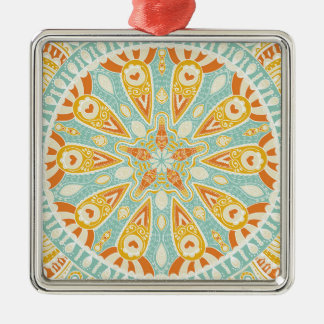 Indian Kaleidoscope Art Silver-Colored Square Ornament
