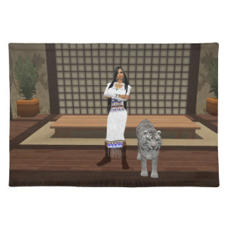 Indian Lady And White Tiger Placemat