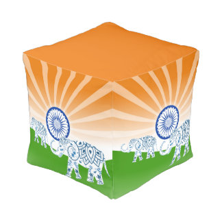 "Indian ""landscape"" flag pouf"