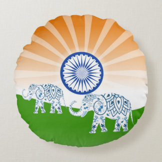 "Indian ""landscape"" flag round pillow"