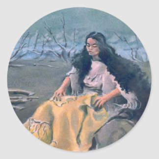 INDIAN MAIDEN & CAMPFIRE by SHARON SHARPE Classic Round Sticker
