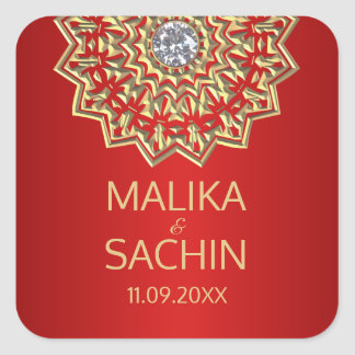 Indian Mandala Flower RED Gold Wedding Seals