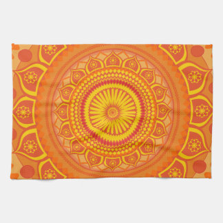Indian mandala Orange Kitchen Towel