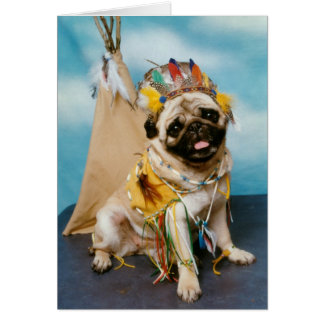 Indian Native American Pug Dog Card