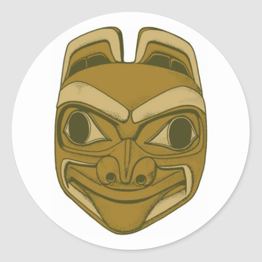 Indian native American tone head pottery head Round Stickers