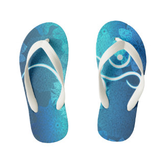 Indian ornament pattern with ohm symbol kid's flip flops