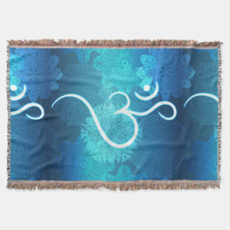 Indian ornament pattern with ohm symbol throw blanket