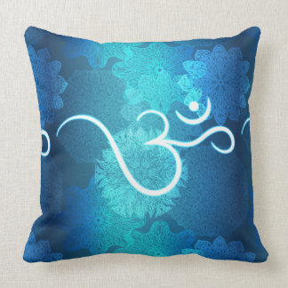 Indian ornament pattern with ohm symbol throw pillow