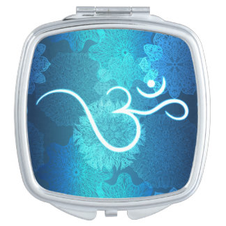 Indian ornament pattern with ohm symbol vanity mirrors