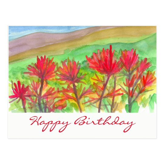Indian Paintbrush Watercolor Happy Birthday Postcard