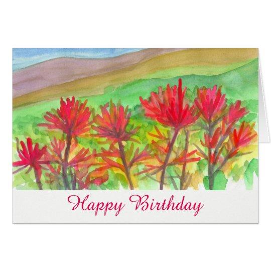 Indian Paintbrush Wildflowers Happy Birthday Card