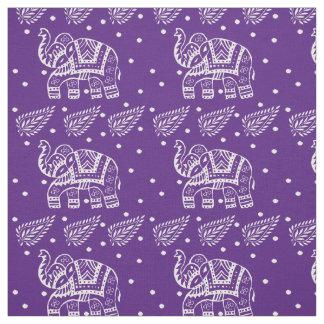 Indian Paisley and Elephant Block-print Purple Fabric