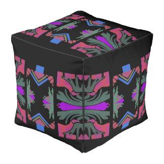 Indian Pattern Pouf-Pink/Teal/Peach/Black/Blue Pouf