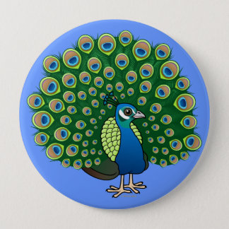 Indian Peafowl 4 Inch Round Button