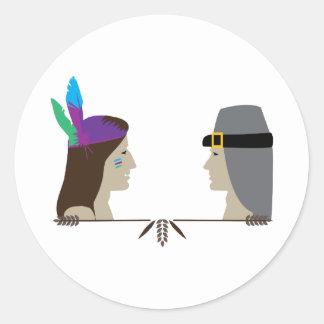Indian & Pilgrim Heads Round Stickers