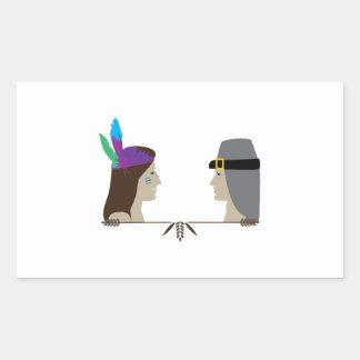 Indian & Pilgrim Heads Rectangle Sticker