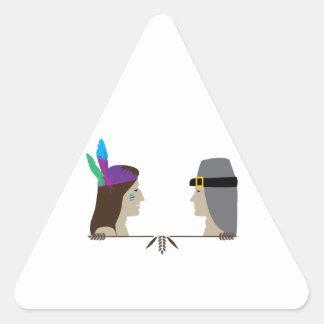 Indian Pilgrim Heads Triangle Sticker