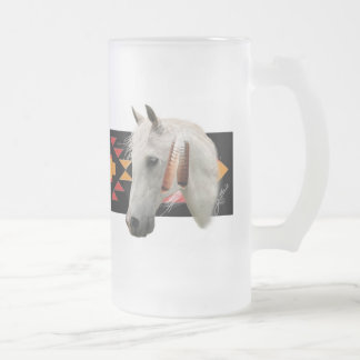 Indian Pony Frosted Glass Beer Mug