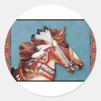 Indian Pony Head Round Sticker