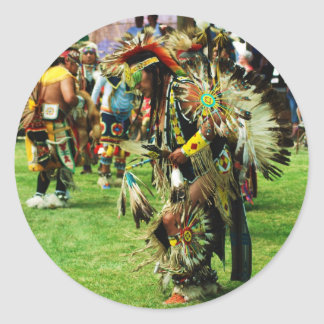indian pow wow round sticker
