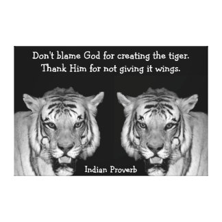 Indian Proverb Tigers on Canvas Canvas Print