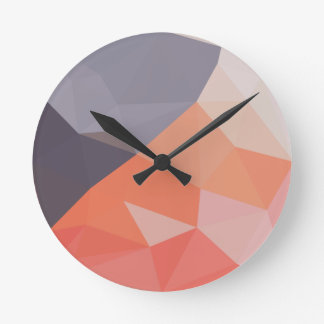 Indian Red Abstract Low Polygon Background Wall Clock