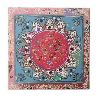 Indian Red Sunflower Style Red Floral Tile