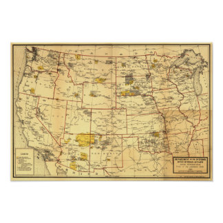 Indian Reservations West of the Mississippi Poster