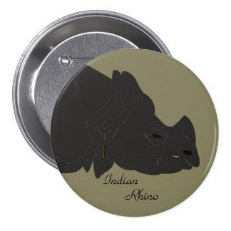 "Indian Rhino 3"" Button"