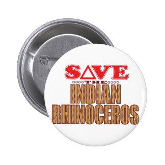 Indian Rhinoceros Save 2 Inch Round Button