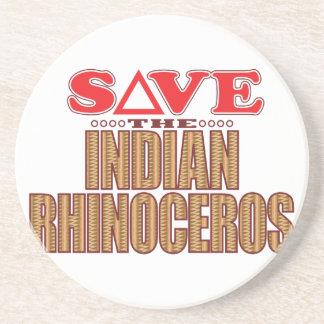 Indian Rhinoceros Save Beverage Coasters
