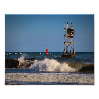 Indian River Inlet Waves Gulls a Beacon and a Buoy Photo Print
