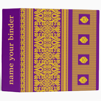 Indian Sari - Purple  And Gold Pattern Vinyl Binders