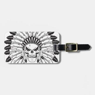 Indian Skull Chief Bag Tag