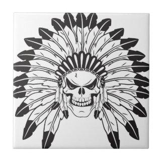 Indian Skull Chief Ceramic Tile