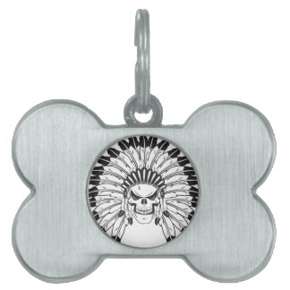 Indian Skull Chief Pet Tags