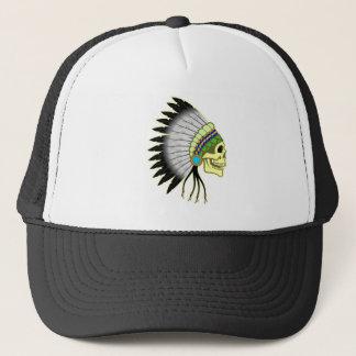 Indian skull chieftain skull chief trucker hat