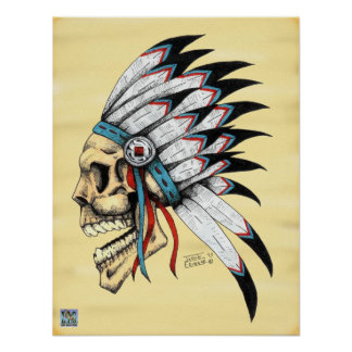 Indian Skull Poster