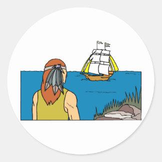 Indian Spots Mayflower Round Sticker